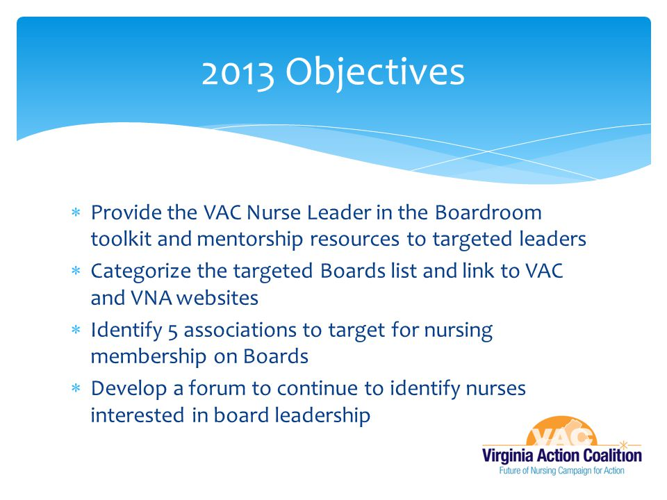 2013 Objectives Provide the VAC Nurse Leader in the Boardroom toolkit and mentorship resources to targeted leaders.