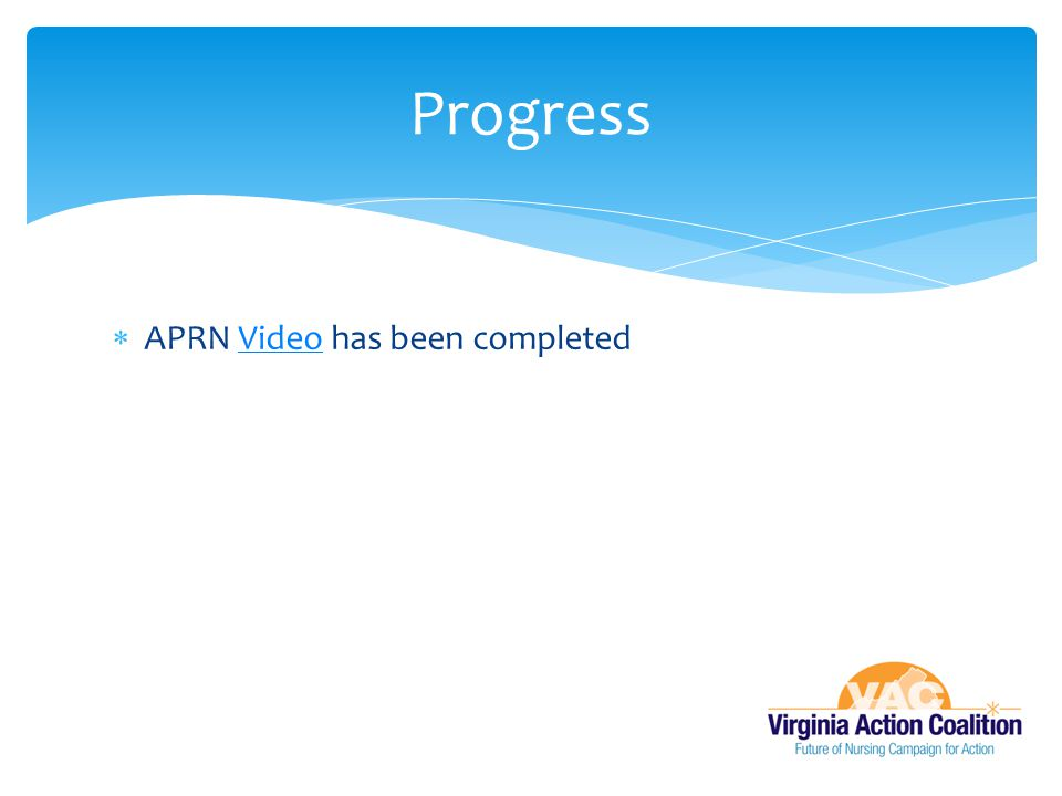 Progress APRN Video has been completed