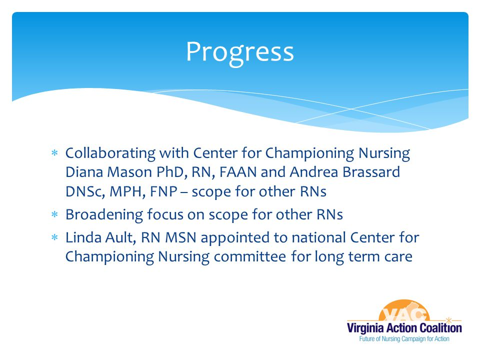 Progress Collaborating with Center for Championing Nursing Diana Mason PhD, RN, FAAN and Andrea Brassard DNSc, MPH, FNP – scope for other RNs.