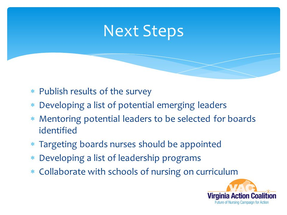 Next Steps Publish results of the survey