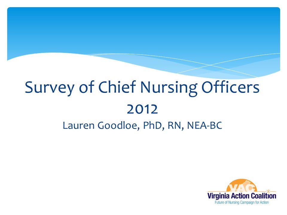 Survey of Chief Nursing Officers 2012 Lauren Goodloe, PhD, RN, NEA-BC