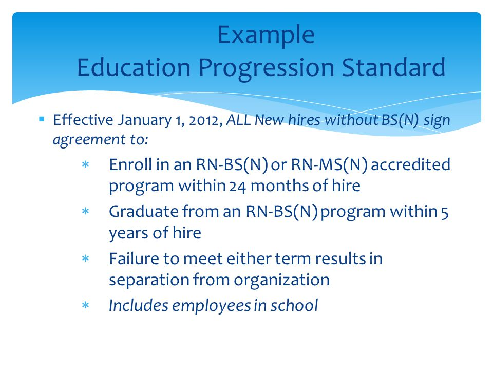 Example Education Progression Standard