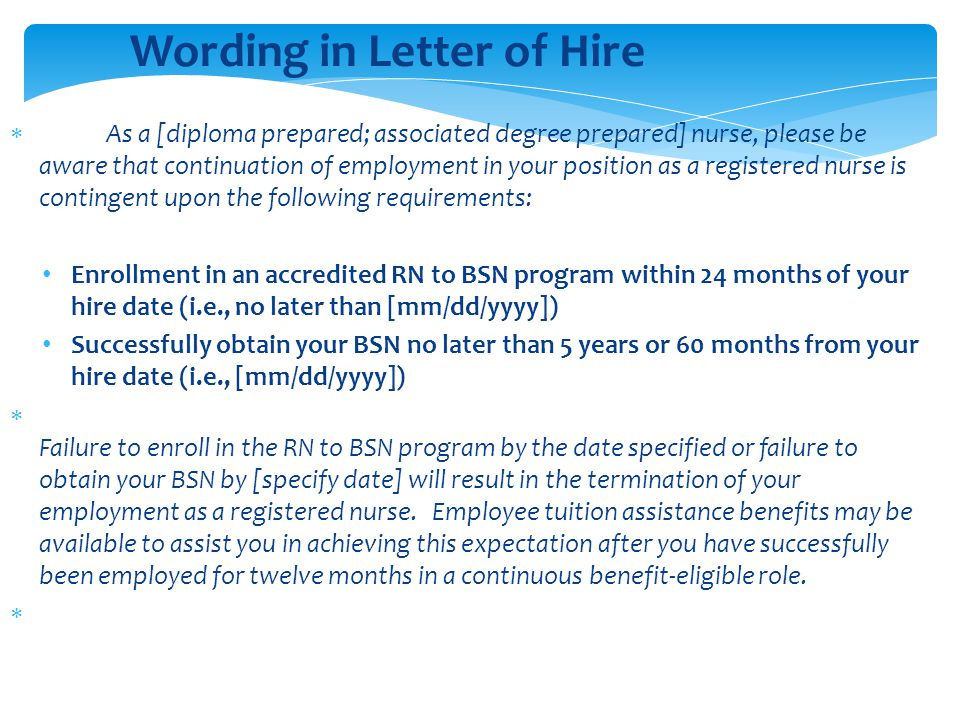 Wording in Letter of Hire