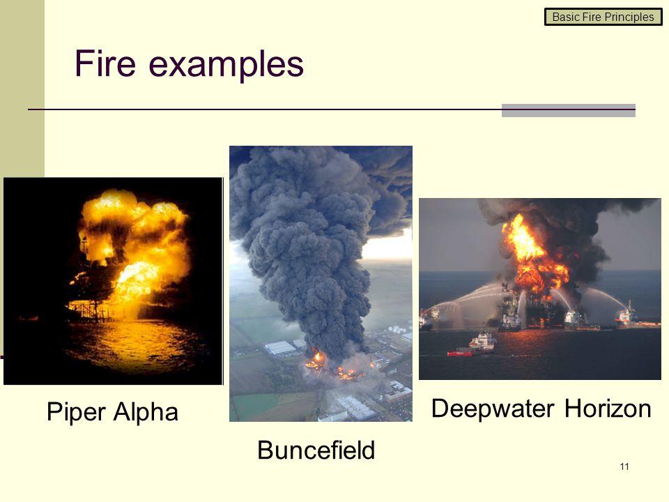 Fire examples Deepwater Horizon Piper Alpha Buncefield