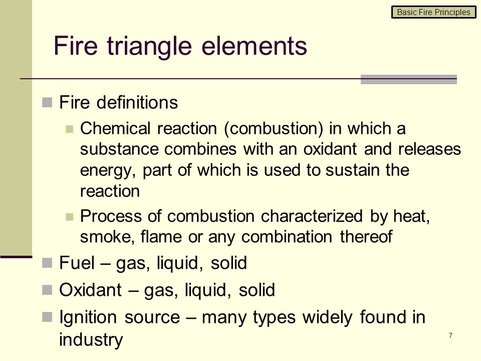 Fire triangle elements