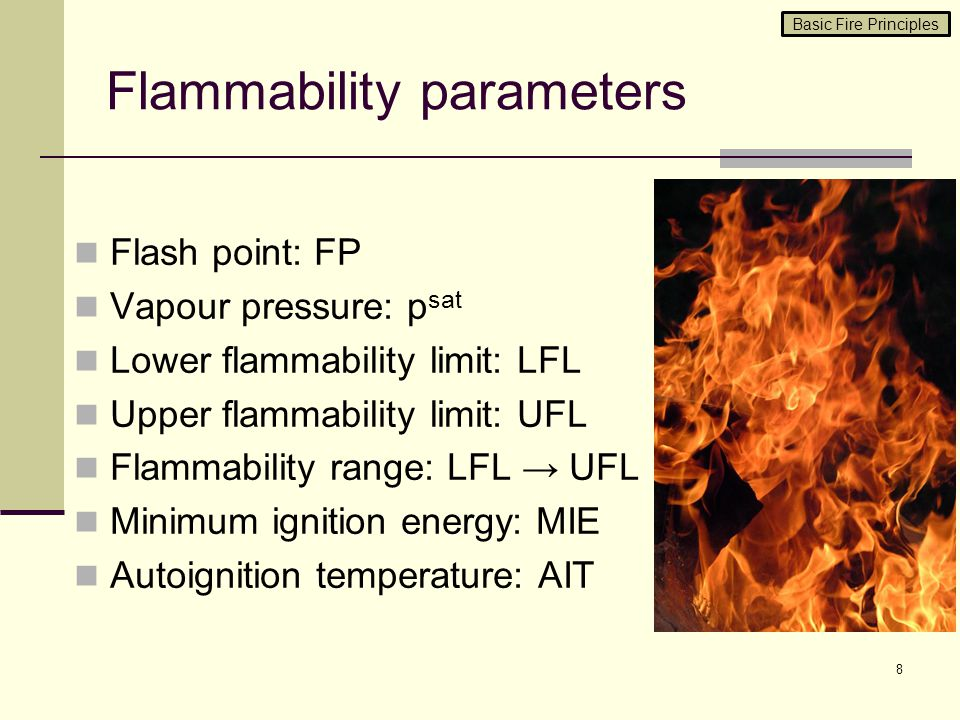 Flammability parameters