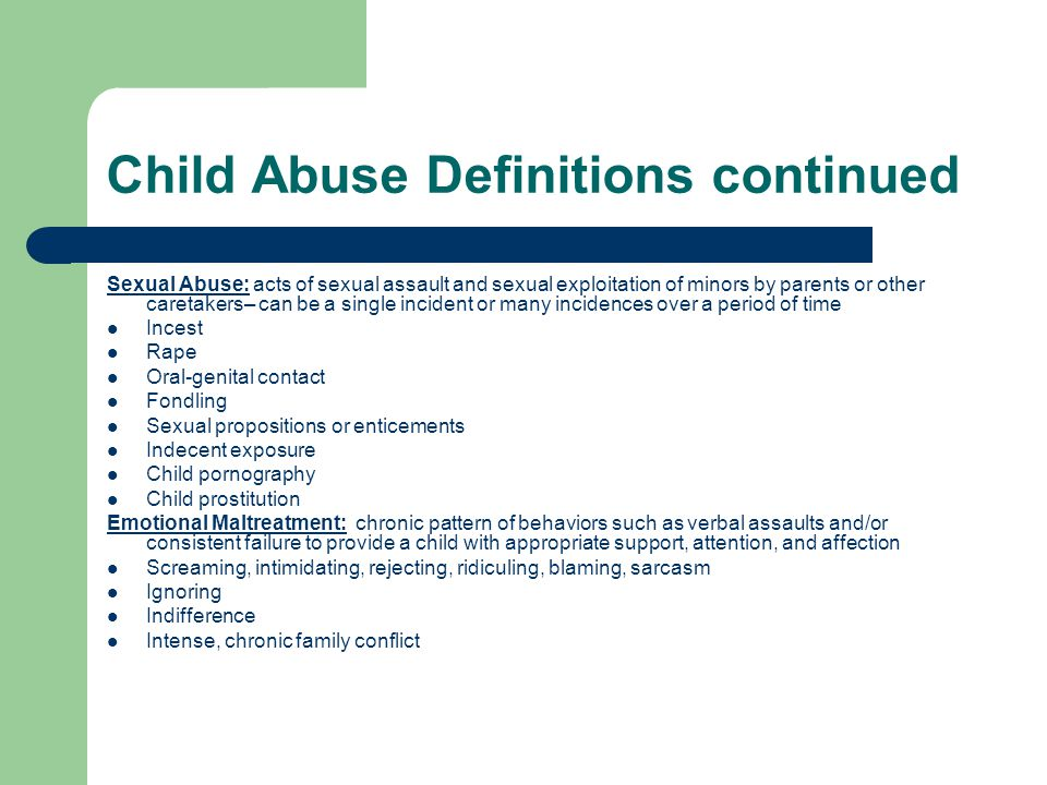 Child Abuse Definitions continued