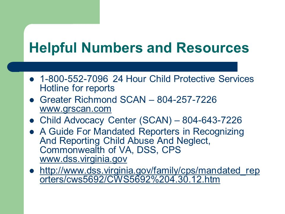 Helpful Numbers and Resources