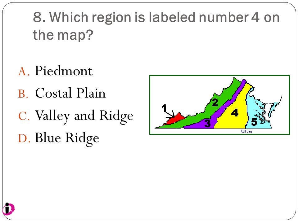 8. Which region is labeled number 4 on the map