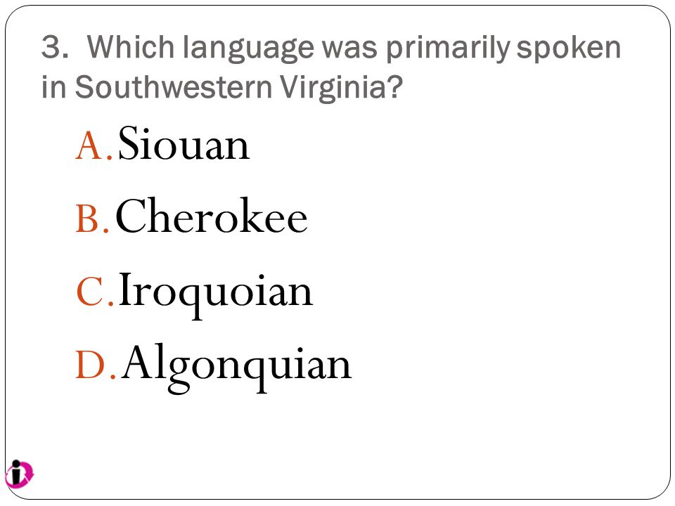 3. Which language was primarily spoken in Southwestern Virginia