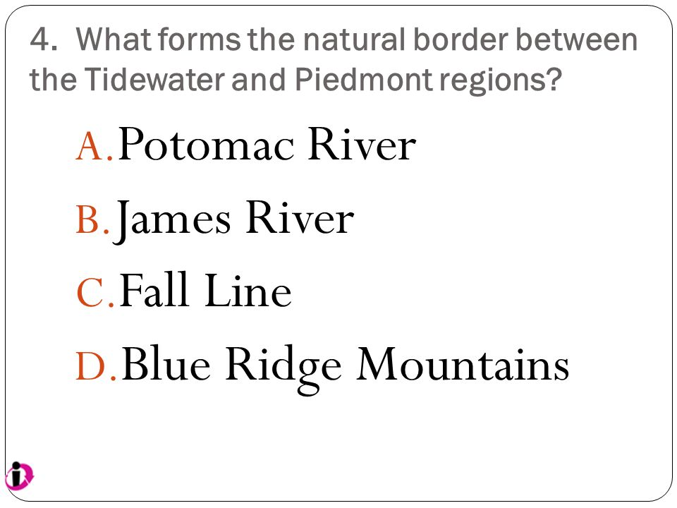 Potomac River James River Fall Line Blue Ridge Mountains