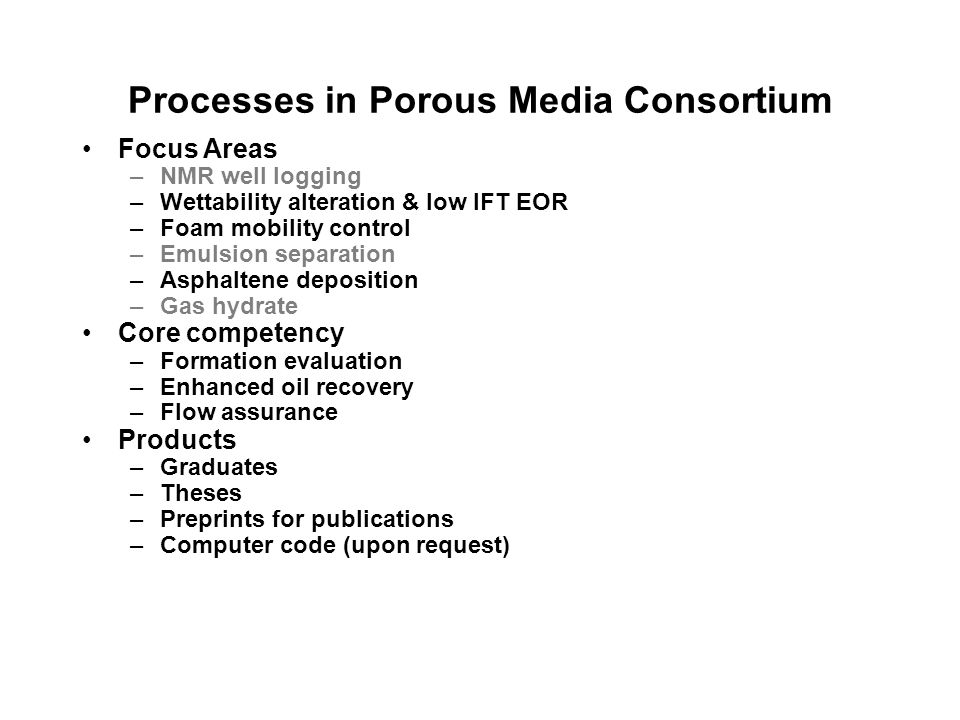 Processes in Porous Media Consortium