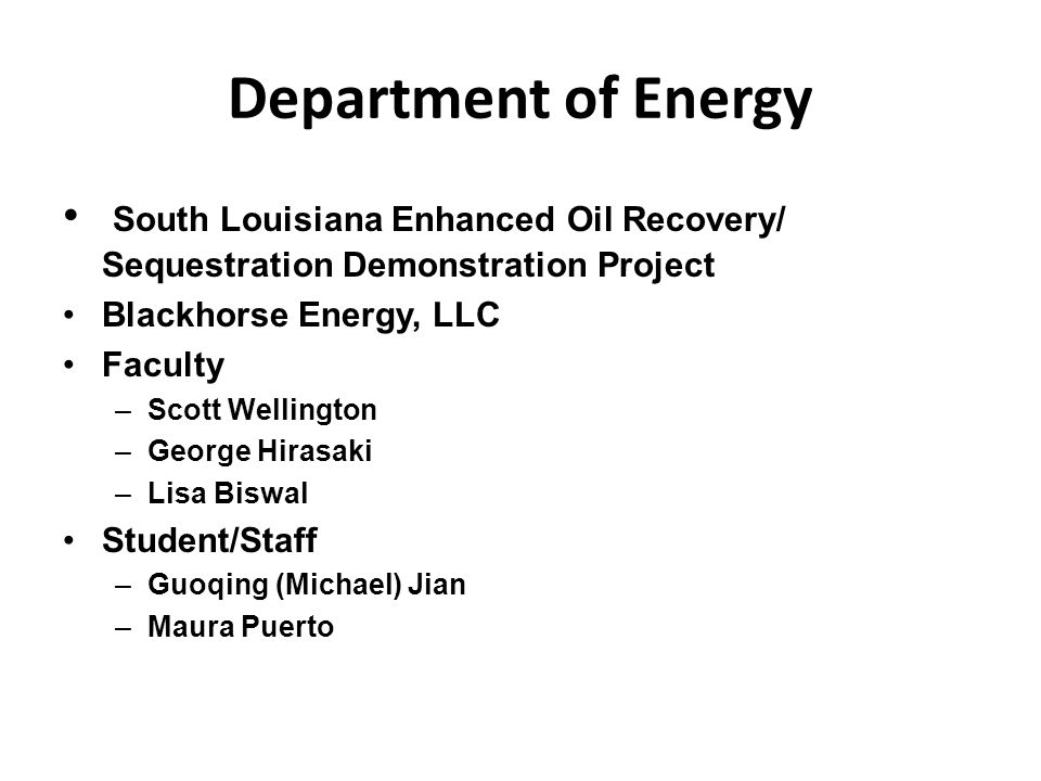 Department of Energy South Louisiana Enhanced Oil Recovery/ Sequestration Demonstration Project. Blackhorse Energy, LLC.