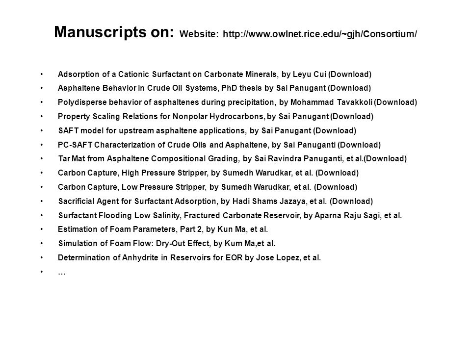 Manuscripts on: Website: http://www.owlnet.rice.edu/~gjh/Consortium/