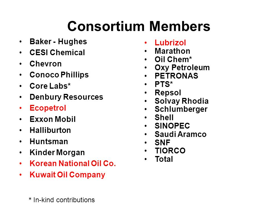 Consortium Members Lubrizol Baker - Hughes CESI Chemical Marathon
