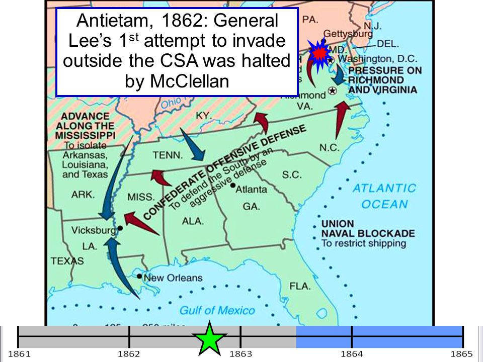 Antietam, 1862: General Lee's 1st attempt to invade outside the CSA was halted by McClellan