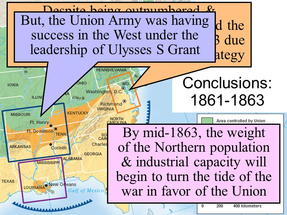 Despite being outnumbered & under-equipped, the CSA dominated the fighting in the East from 1861-1863 due to better generals & a defensive strategy