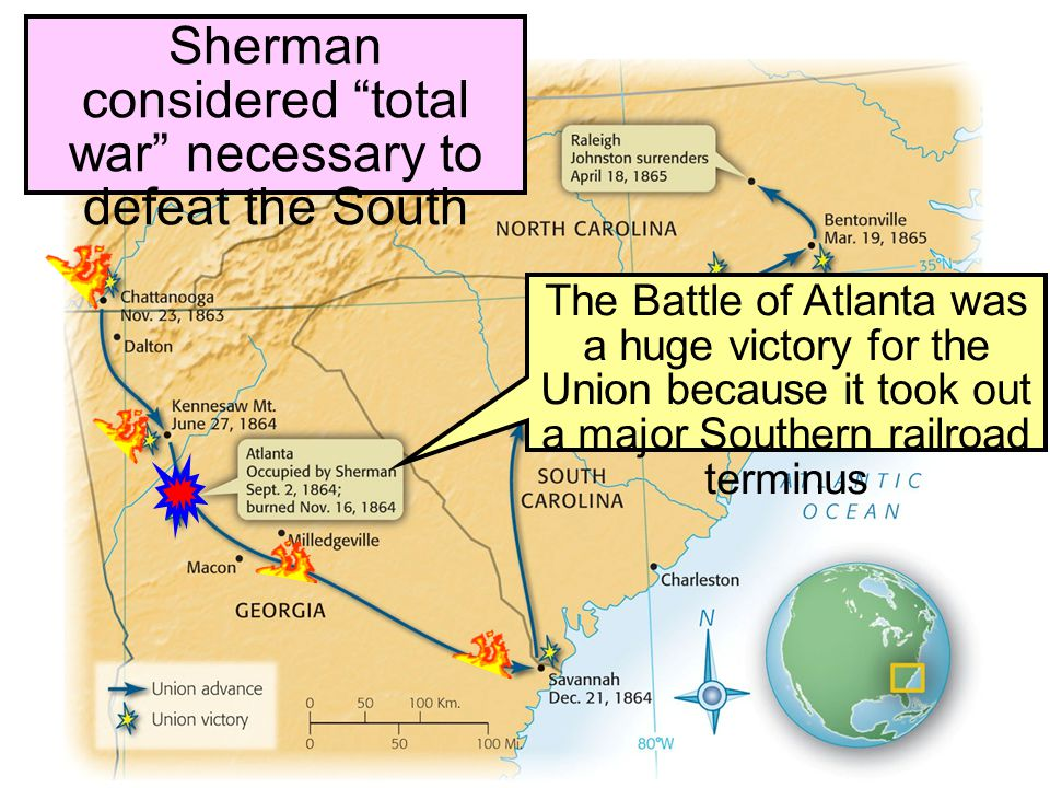 Sherman considered total war necessary to defeat the South