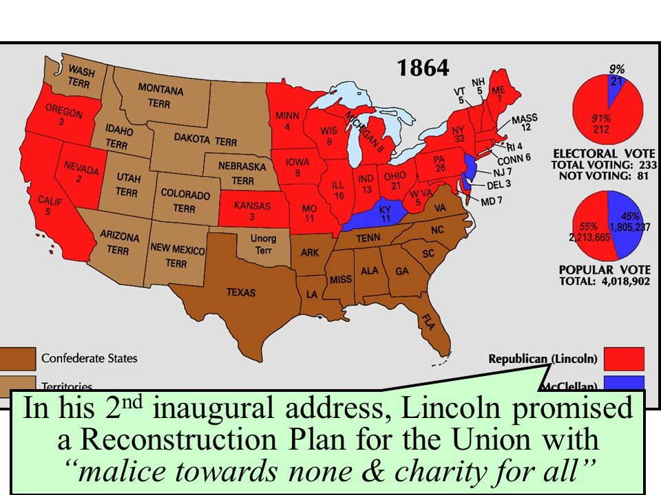 In his 2nd inaugural address, Lincoln promised a Reconstruction Plan for the Union with malice towards none & charity for all