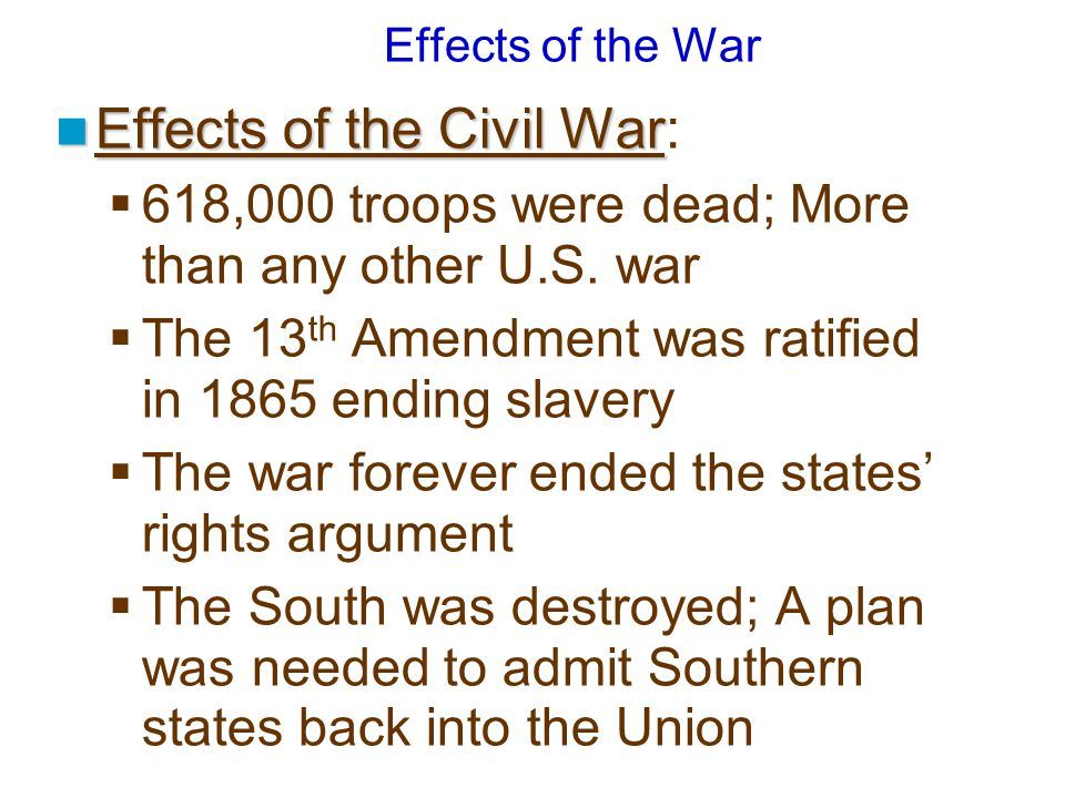 Effects of the Civil War: