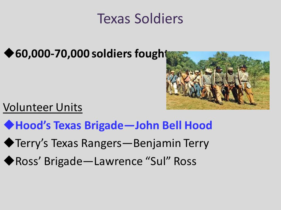 Texas Soldiers 60,000-70,000 soldiers fought Volunteer Units