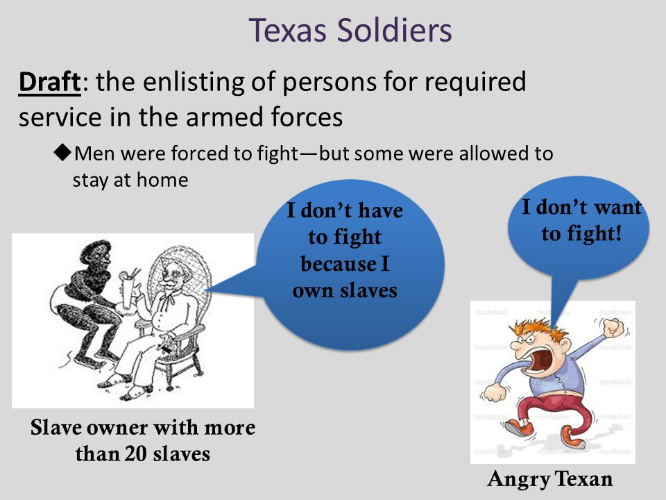 Texas Soldiers Draft: the enlisting of persons for required service in the armed forces.