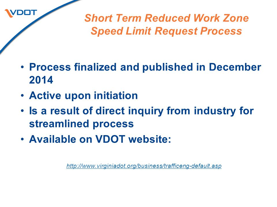 Short Term Reduced Work Zone Speed Limit Request Process