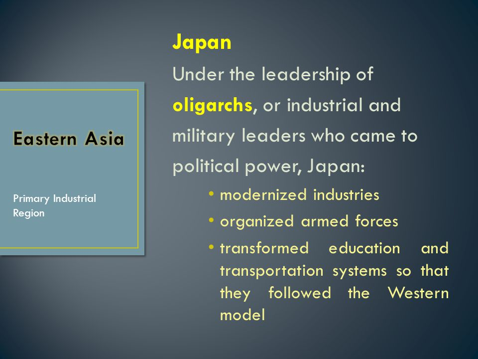 Japan Under the leadership of oligarchs, or industrial and