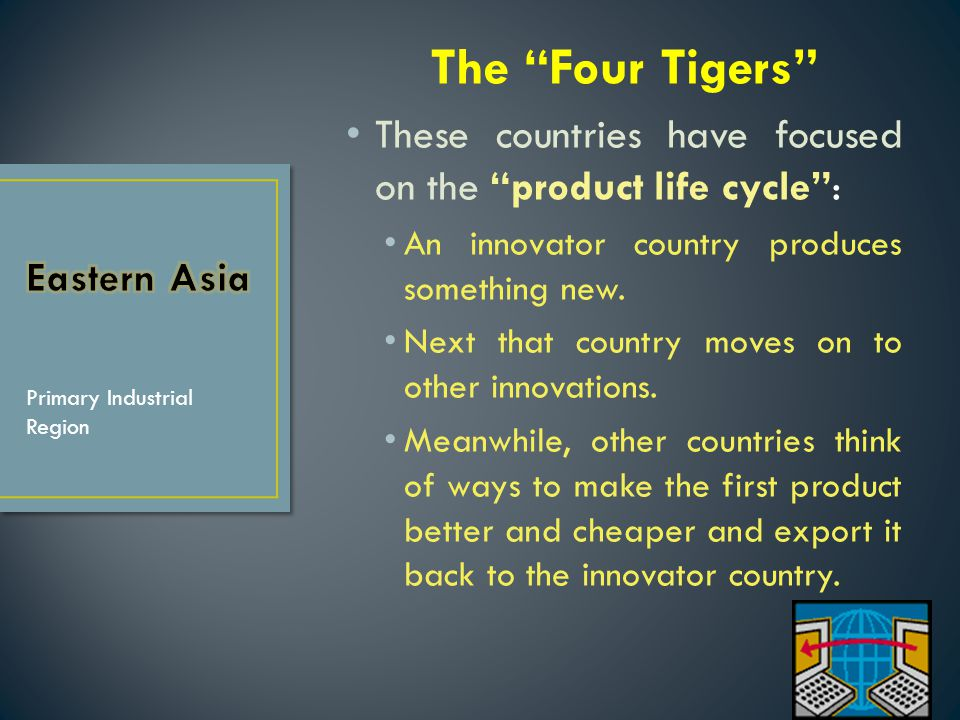 The Four Tigers These countries have focused on the product life cycle : An innovator country produces something new.