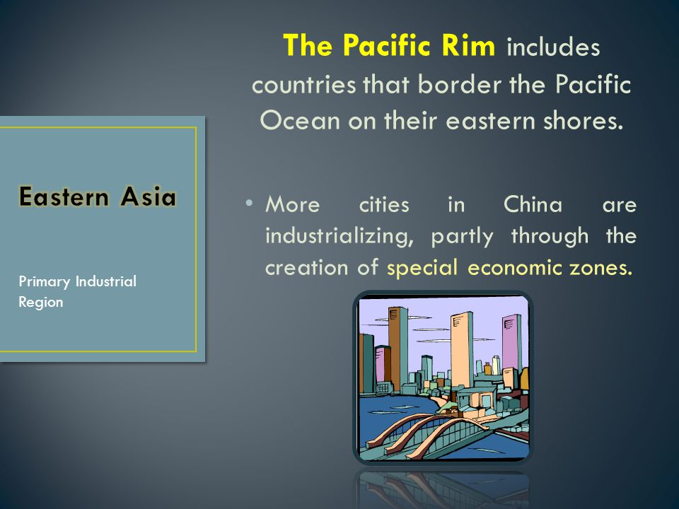 The Pacific Rim includes countries that border the Pacific Ocean on their eastern shores.