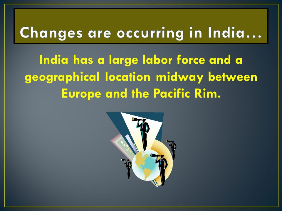 Changes are occurring in India…