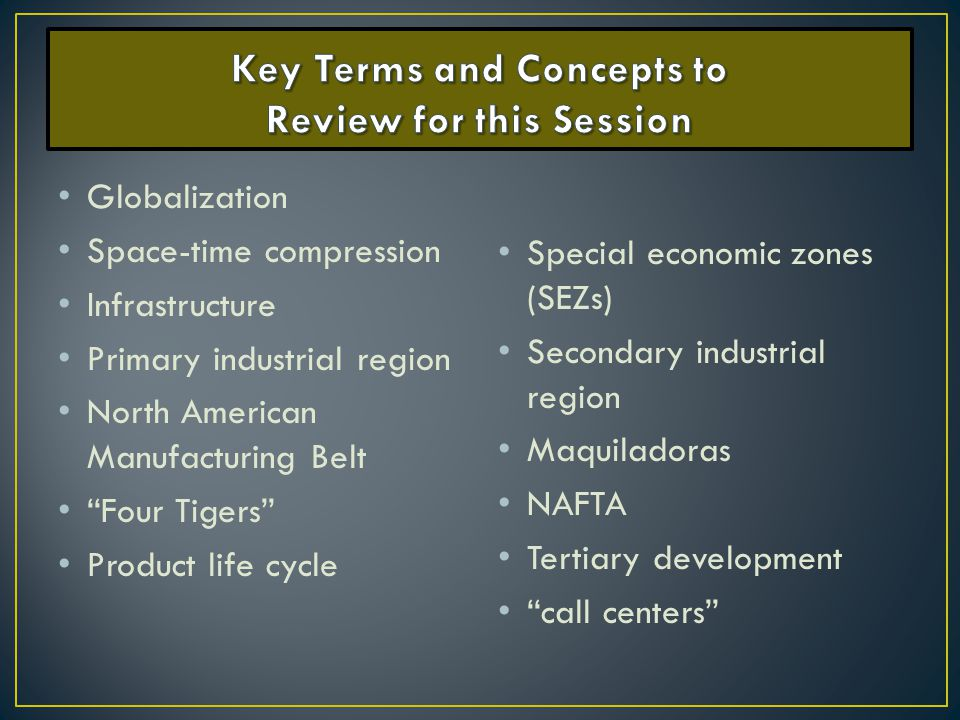 Key Terms and Concepts to Review for this Session