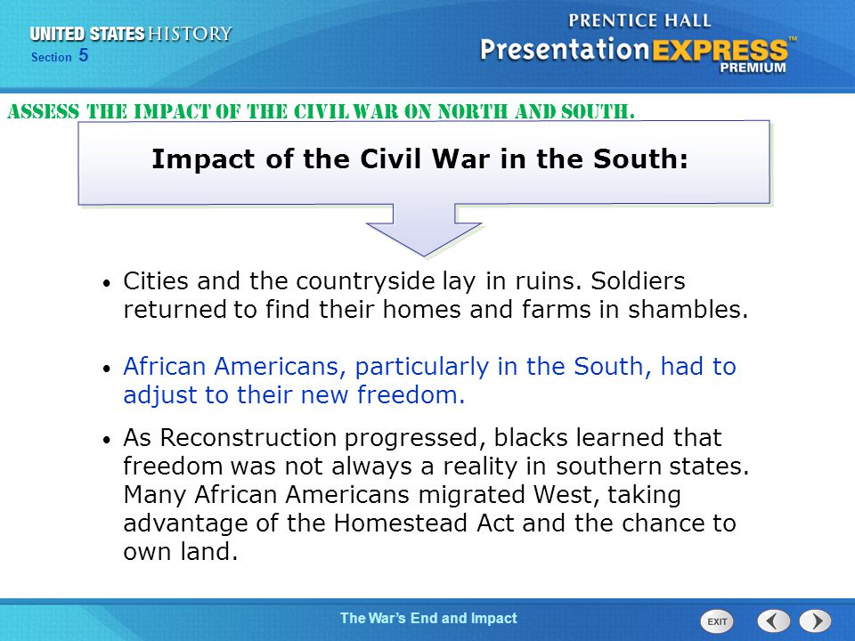 Impact of the Civil War in the South: