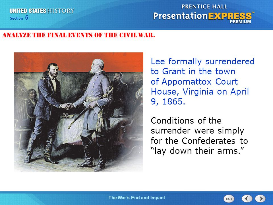 Analyze the final events of the Civil War.