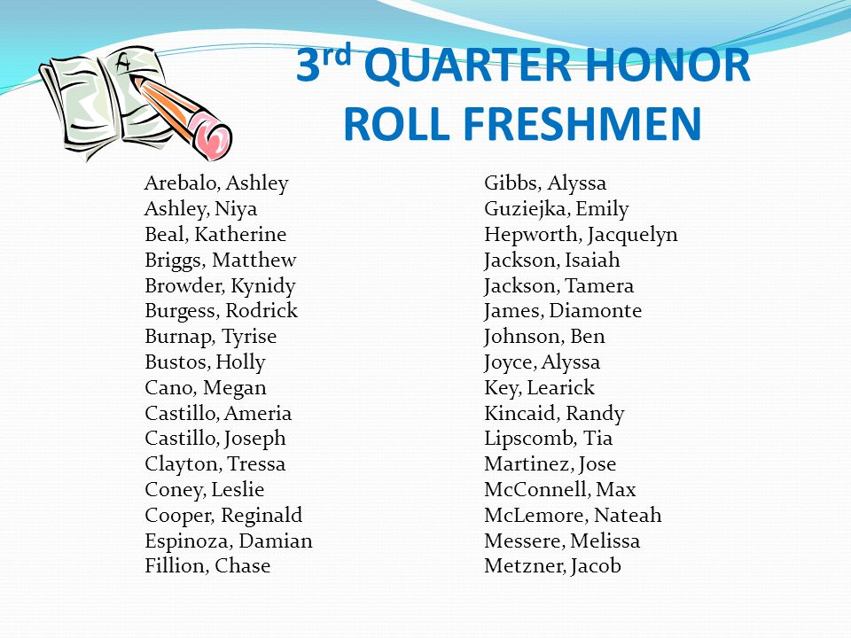 3rd QUARTER HONOR ROLL FRESHMEN