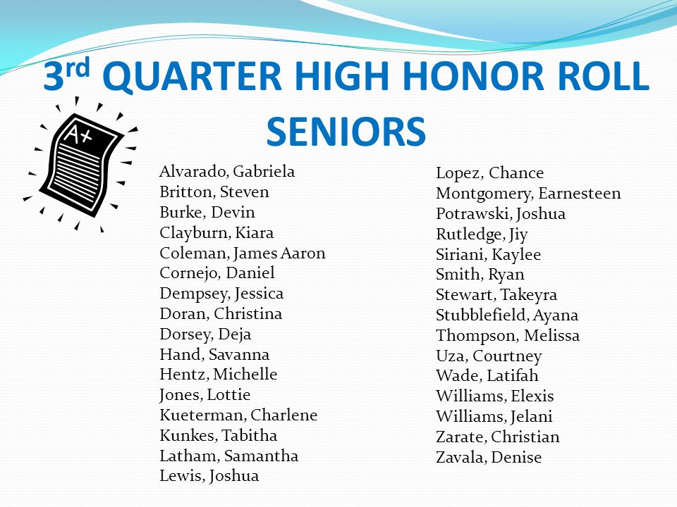 3rd QUARTER HIGH HONOR ROLL SENIORS