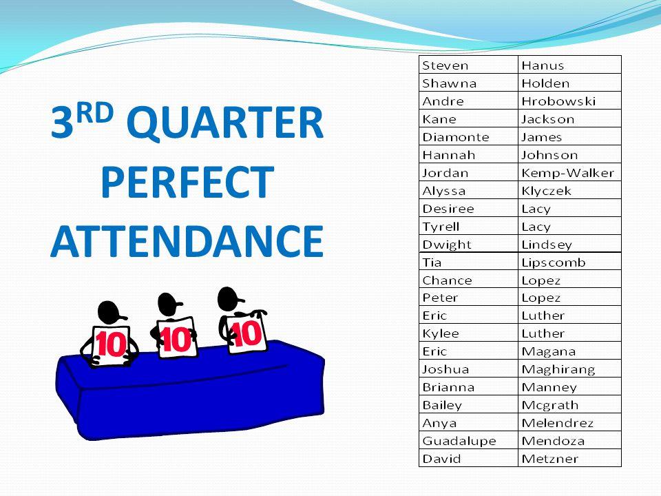 3RD QUARTER PERFECT ATTENDANCE