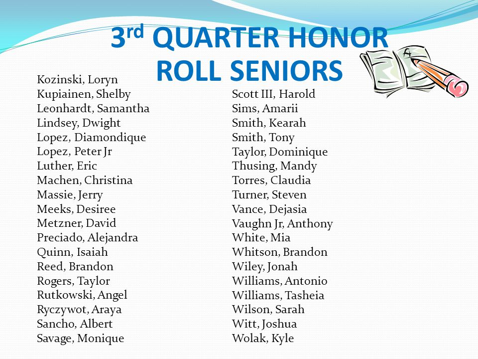 3rd QUARTER HONOR ROLL SENIORS