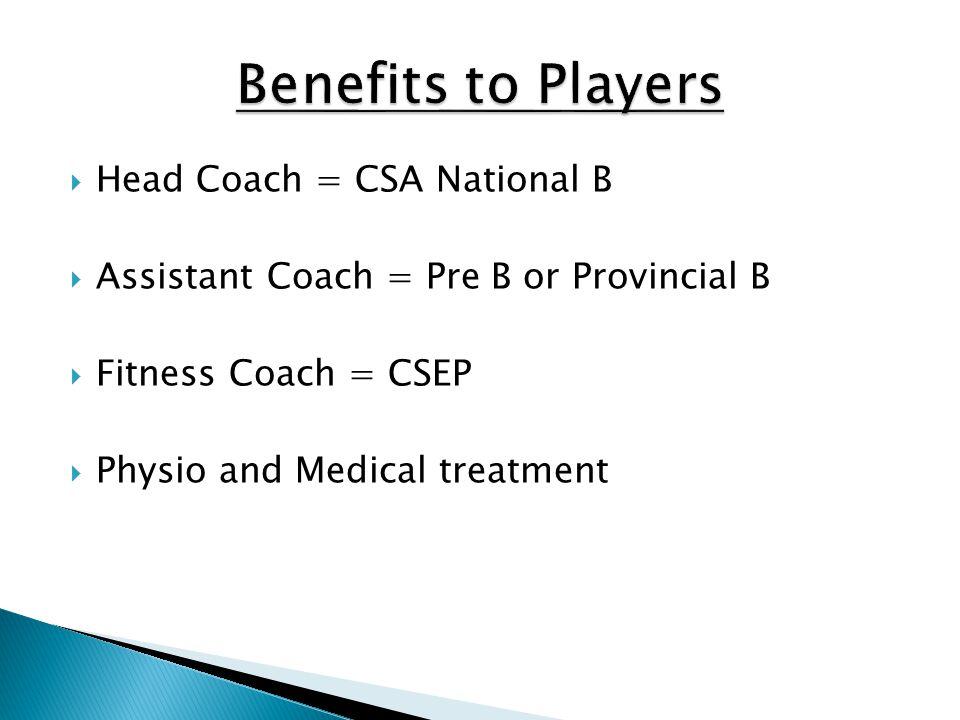 Benefits to Players Head Coach = CSA National B