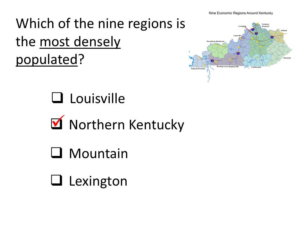  Which of the nine regions is the most densely populated Louisville