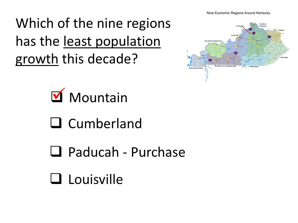 Which of the nine regions has the least population growth this decade