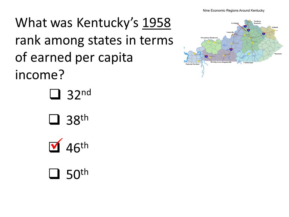 What was Kentucky's 1958 rank among states in terms of earned per capita income