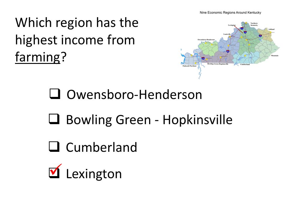  Which region has the highest income from farming