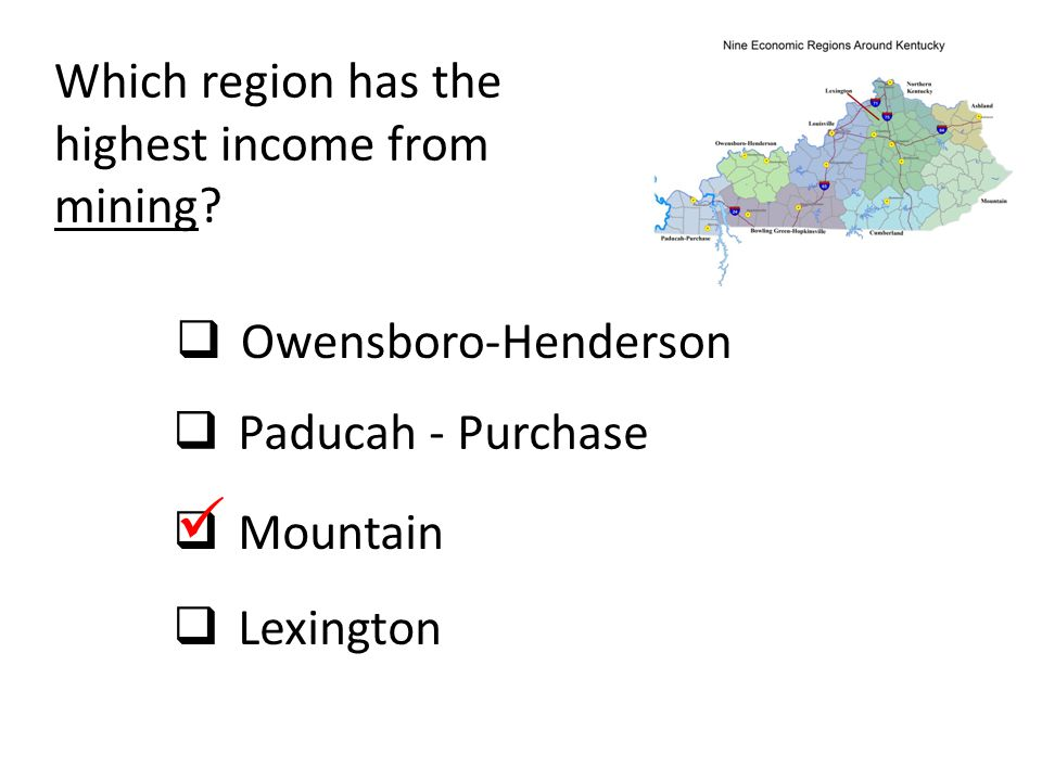  Which region has the highest income from mining Owensboro-Henderson