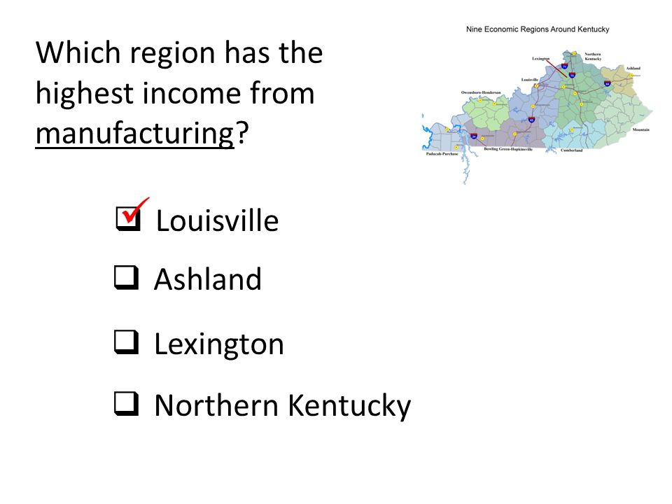  Which region has the highest income from manufacturing Louisville