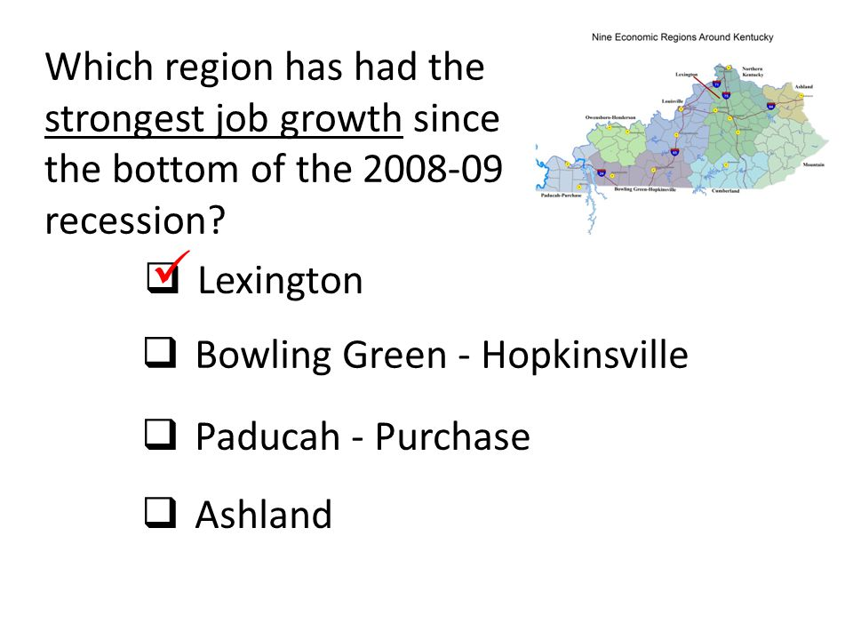 Which region has had the strongest job growth since the bottom of the 2008-09 recession