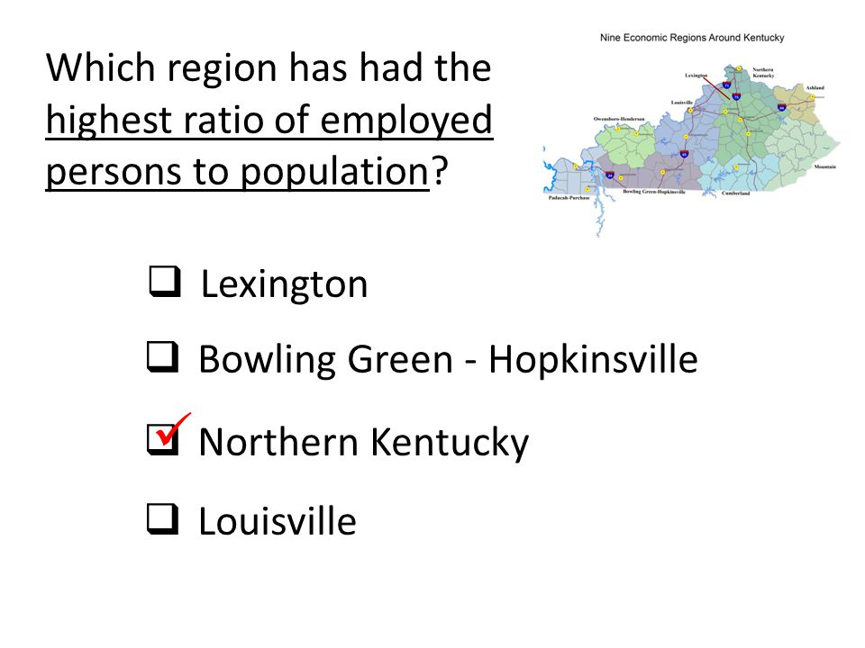 Which region has had the highest ratio of employed persons to population