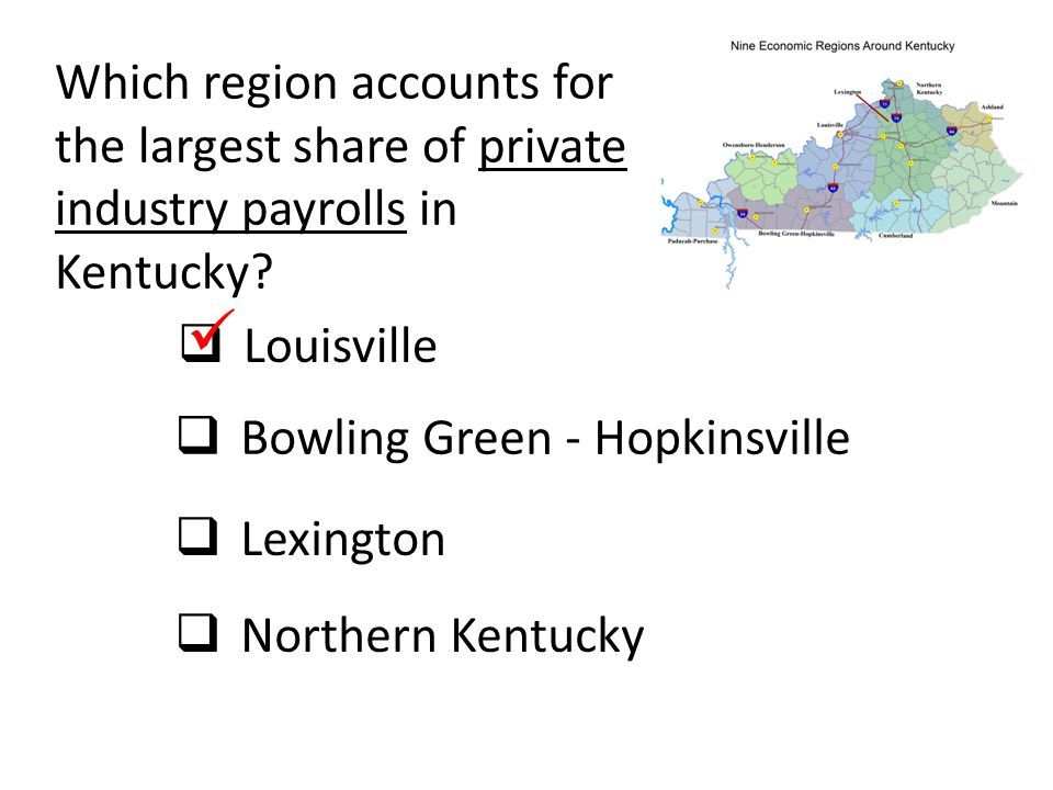 Which region accounts for the largest share of private industry payrolls in Kentucky
