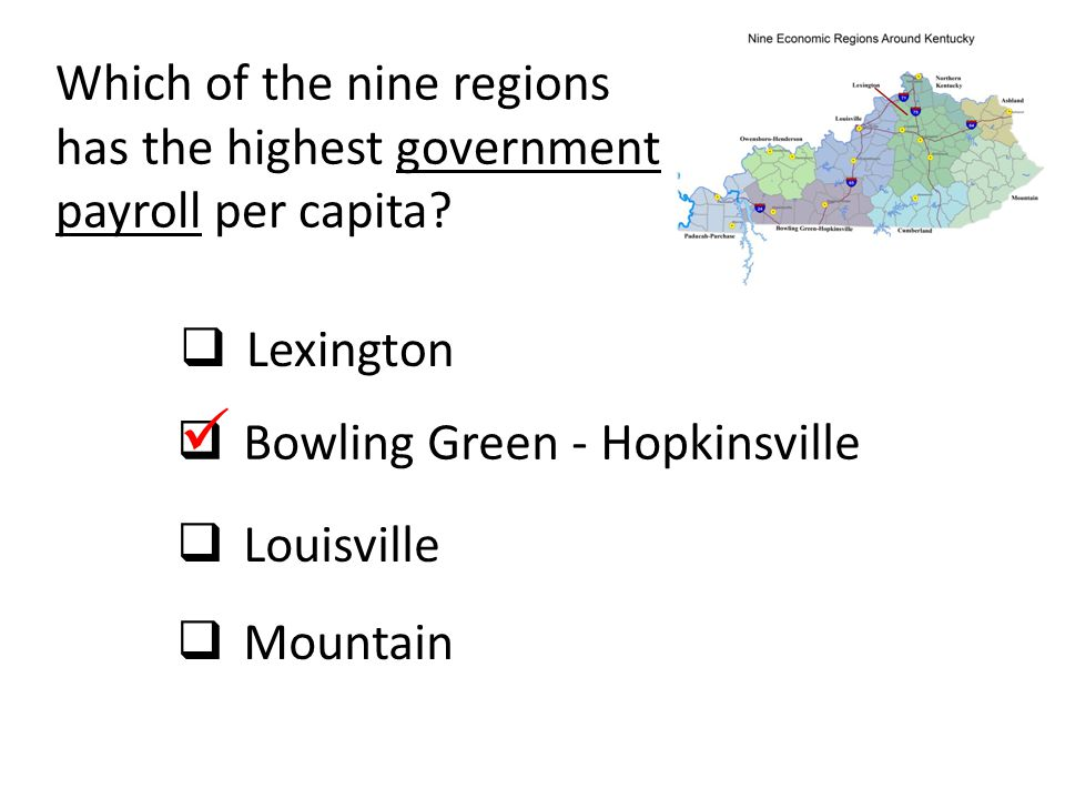 Which of the nine regions has the highest government payroll per capita