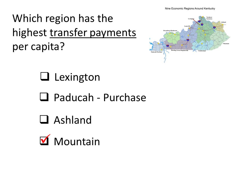  Which region has the highest transfer payments per capita Lexington